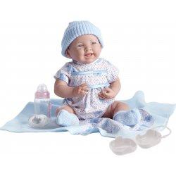 Lalka Noworodek w niebieskim ubranku, akcesoria, soft body
