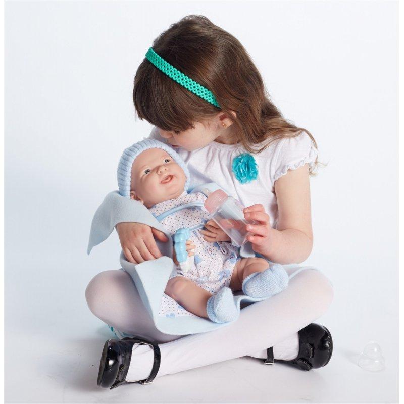 Lalka Nowordek w niebieskim ubranku