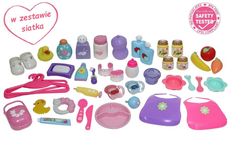 Duży zestaw akcesoriów dla lalki bobas - 45 elementów + siatka - JC Toys