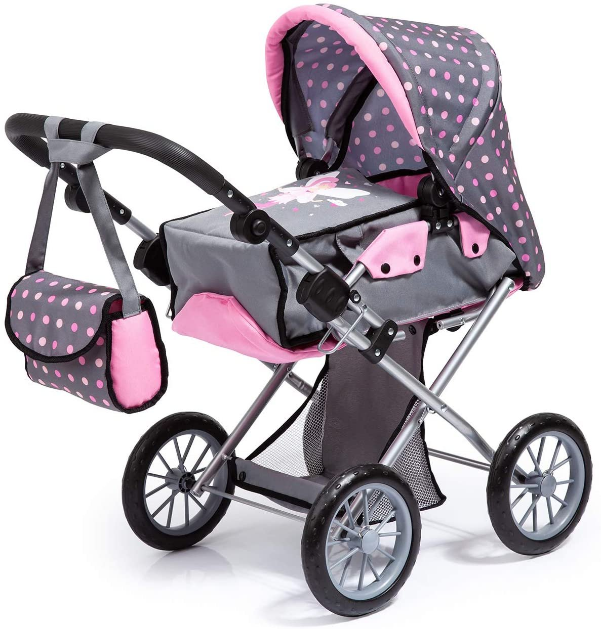 Wózek dla lalek - City Neo - Szaro różowy z wróżką